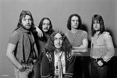 English rock group Uriah Heep posed in London in December 1976. Left to right: Lee Kerslake, Mick Box, Ken Hensley, John Lawton and Trevor Bolder.