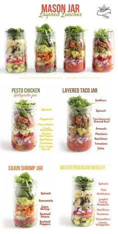 Mason Jar Layered Lunches #Food #Drink