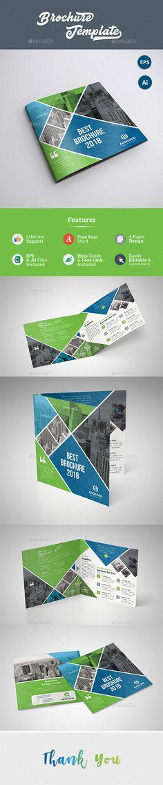 Square Trifold Brochure Template Vector Eps Ai Illustrator