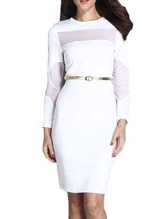 O-Neck Semi-Sheer Long Gauze Sleeve Sheath Dress on buytrends.com
