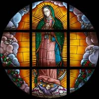 Our Lady of Guadalupe, window for Villanova University's School of Law. Temple In Jerusalem, Stained Glass Designs, Blessed Virgin Mary, Stained Glass Windows, Our Lady, All Things Christmas, Three Dimensional, Catholic, Virgen De Guadalupe