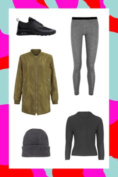 The Longline-Bomber LookWe've already seen countless celebrities wearing leggings with cropped bomber jackets, but opting for an elongated silhouette can actually make this athleisure look seem that much more put-together. And you don't need to overthink it — a simple black turtleneck, running sneakers, and a ribbed beanie will keep this outfit cool, without looking like you tried too hard.Mover Merino-Wool Jersey Leggings, $105, available at Net-A-Porter; New Look Khaki Longline Bomber Jack...