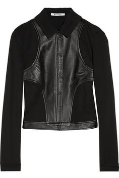 Paneled leather and jersey jacket by T by Alexander Wang