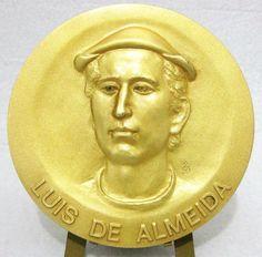 LUIS DE ALMEIDA DOCTOR HUMANIST 1525-1583 JAPAN / BRONZE MEDAL +BOX 南蛮医アルメイダ