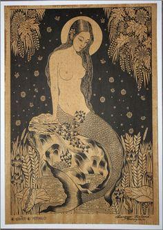 Thai traditional art of Mermaid  by silkscreen printing on sepia paper