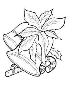 candy cane images for coloring | ... : Christmas Scenes Coloring Pages - Christmas Bells and Candy Cane