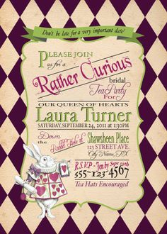 Like the wording and colors, but I don't know if I want a rabbit on my invites, even if he is a main character.