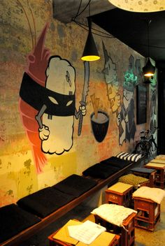 at Kuki Tanuki Japanese Bar, Erskineville. Japanese graffiti for the downstairs karaoke club? Japanese Restaurant Interior, Japanese Interior, Japanese Ramen Restaurant, Japanese Graffiti, Sushi Bar Design, Japanese Bar, Japanese Buffet, Hotel Restaurant, Graffiti Restaurant