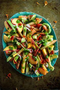 Tomato Peach and Avocado Salad with Cilantro Vinaigrette