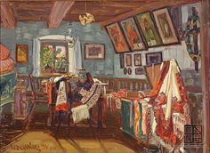 martin Benka, Slovácka izba 1916 Family Humor, Funny Family, Beauty In Art, Epoch, Martini, Illustrators, Oil On Canvas, Westerns, Graphic Art