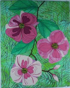 Dogwood Blossoms applique quilt by Beth Markel. Embellished with beading.