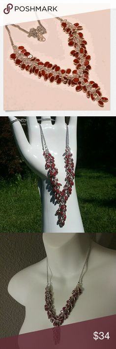 "18"" Mozambique garnet necklace w/solid .925 silver Handcrafted in India with .925 solid sterling silver and exclusive Mozambique garnet, this piece has incredible movement and deep red color. Figure 8 closure. 18"". Poshionistas  Jewelry Necklaces"
