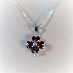 "Sterling Silver Clear CZ, Garnet color Flower Pendant Necklace, 18"""
