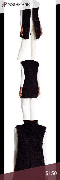 """NWT Theory Black Visterna Vest ❗️1 HOUR SALE ❗️Faux fur constructs the Visterna Vest making it a sleek and necessary addition to your wardrobe.  - Funnel neck - Sleeveless - Front snap button closure - 2 front welt pockets - Faux fur construction - Lined - Approx. 34"""" length - Imported Fiber Content Faux fur self: 100% acrylic Lining: 100% polyester Care Dry clean only Additional Info Fit: this style fits true to size.  Model's stats for sizing: - Height: 5'10"""" - Bust: 34"""" - Waist: 24""""…"""