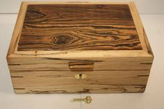 Handmade Locking Spalted Maple Wood Box with Solid Bocote Lid. Jewelry, Secretary, Keepsake Box. Self-Lifting Tray, Adjustable Dividers