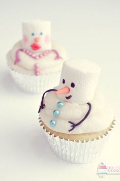 Marshmallow cupcakes Snowman