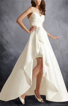 [two In One Wedding Dress]strapless Matte Taffeta Knee Length Dress With Detachable Court Train - Wedding Gowns - OuterInner.com