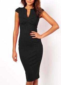 Cheap Sheared Waist Black Dress with Cap Sleeve