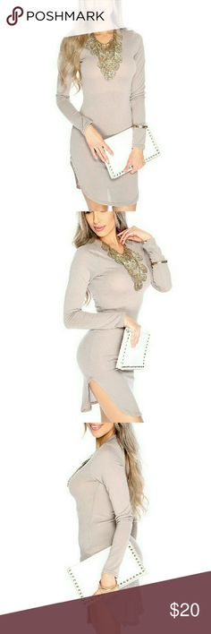 CHARCOAL SIDE SLIT DRESS Look cute on your casual days out in this dress it features; round neckline, long sleeves, side slits, and fitted. moda_boutique Dresses