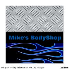 Iron plate looking with blue hot rod flames custom poster