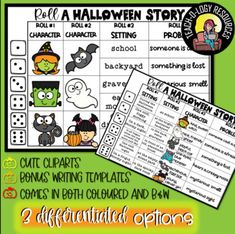 Differentiated Halloween Roll a Story by TEACH-O-LOGY RESOURCES | TpT Halloween Stories, Halloween Ideas, Roll A Story, Roll A Die, Character And Setting, Teacher Created Resources, Thanksgiving Activities, Reading Resources, School Holidays