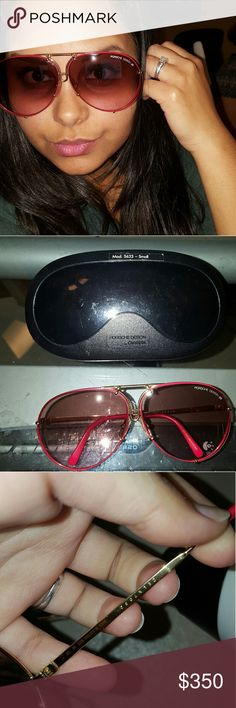 Vintage  Porsche Carrera Sunglasses  100% authentic. comes with case and the extra lens are brand new. The current lens (red) have a few minor scratches. The replacement lens have no scratches. Accepting reasonable offers. Carrera Accessories Sunglasses