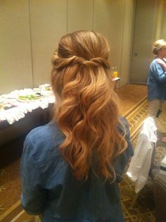 Twisted half up, half down with waves. Bridesmaid hair updo