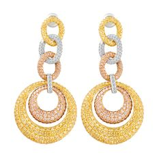 Tri Color Diamond Drop 18k Gold Earrings