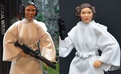 Princess Leia Organa Star Wars Black Series Action Figure Custom Repaint Before and After