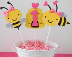 Bumble Bee Birthday Party Personalized Centerpiece Sticks in Yellow, Black and Pink - Bee Party Decorations - Bee Centerpieces -  Set of 3 by sweetheartpartyshop on Etsy https://www.etsy.com/listing/76088534/bumble-bee-birthday-party-personalized