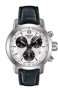 Tissot PRC 200 Lady Quartz Silver Dial Watch with Blue Leather Strap