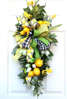 Excited to share this item from my #etsy shop: Lemon Swag, Summer wreath bees, Spring Porch Wreath, Summer decor, Kitchen lemon wreath, Wall decor, beach house decor, Country decorations Spring Front Door Wreaths, Spring Wreaths, Summer Wreath, Mount Laurel, Lemon Wreath, Beach House Decor, Home Decor, Wired Ribbon, Country Decor