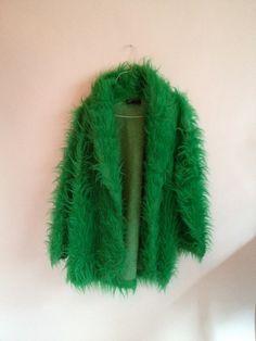 80s / 90s Green Fur Jacket // Club Kid / RESERVED FOR MISA. $75.00, via Etsy.