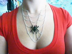 Spider's Lair Necklace - Beaded Crystal Spider with Web, Halloween jewelry by Weirdly Cute