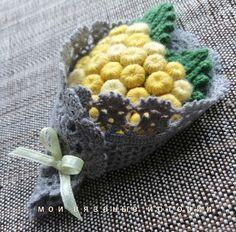 Брошь вязаная Букет-бутоньерка Мимоза 1 - купить или заказать в интернет-магазине на Ярмарке Мастеров | И снова мимоза, как призыв к весне!<br /> <br />… Crochet Vase, Love Crochet, Crochet Flowers, Newborn Baby Photography, Blackberry, Crochet Projects, Applique, Knitting, Handmade