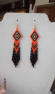 Native American Style Beaded Orange Earrings Southwestern