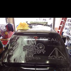 Custom view thru wrap on the Jimmydoo windshield. Audio, Car, Automobile, Cars, Autos