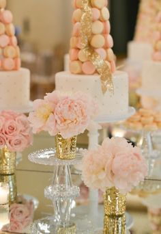 Gorgeous cream, gold and peach colour palette for wedding dessert table.  White Lilac Inc.  events.
