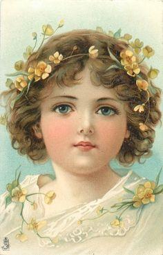 Beautiful girl with yellow primroses in her hair, 1910.
