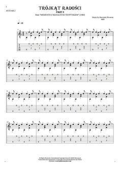 Trójkąt radości - SBB. From album Memento z banalnym tryptykiem (1980). Part: Notes and tablature for guitar - guitar 2 part