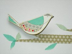 Bird 2 Washi Tape Brooch. kotoridesign