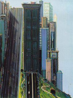 peira:    fckyeaharthistory:  Wayne Thiebaud: Hill Street (Day City)1981