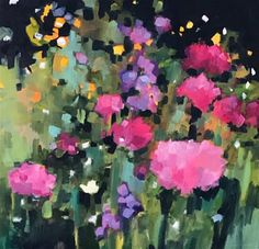 """Daily Paintworks - """"Evening Blooms"""" - Original Fine Art for Sale - © Libby Anderson."""
