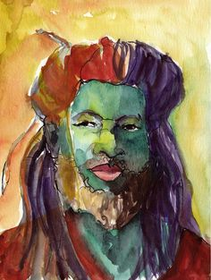 Art Painting Watercolor Rastafari Dreadlock Black by vhmckenzie Watercolor Print, Watercolor Paintings, Original Paintings, Watercolors, Jamaican Men, Rasta Lion, Abstract Portrait, Famous Art, Star Art