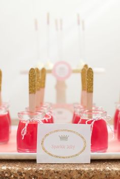 Sparkle Jelly! Pink & Gold Princess Birthday Party via Kara's Party Ideas