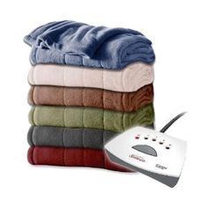 Sunbeam Channeled Velvet Plush Electric Heated Blanket Twin Full-Queen King Size from DealYard at SHOP.COM