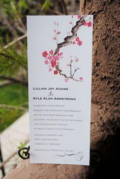 Invitation de mariage de thé longueur aquarelle fleur de cerisier