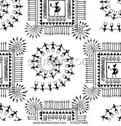 Warli painting seamless pattern - hand drawn traditional the ancient tribal art India. Pictorial language is matched by a rudimentary technique depicting rural life of the inhabitants of India Pottery Painting Designs, Paint Designs, Indian Wall Art, Lotus Drawing, Worli Painting, Madhubani Painting, Indian Paintings, Tribal Art, Textile Prints
