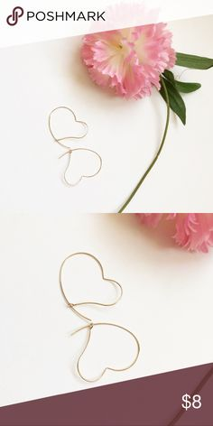{new} Gold Abstract Heart Shaped Earrings Gold Abstract Heart Shaped Earrings        Made of Metal Available in Gold and Silver in Separate Listings Approximately 1 inches long and 1.5 inches wide Price is Firm faith + sparkle Jewelry Earrings