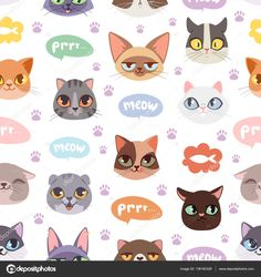 Buy Seamless Hipster Cats Pattern Background Vector By Vectorssstocker On GraphicRiver